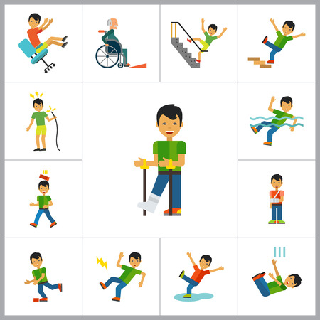 Accidente Icon Set. La caída De una silla que cae abajo escaleras Boy Deslizándose Tropezando caída de niño con el hombre brazo roto con la pierna quebrada Drowning Man ladrillo que cae en el hombre de descarga eléctrica Hombre en silla de ruedas