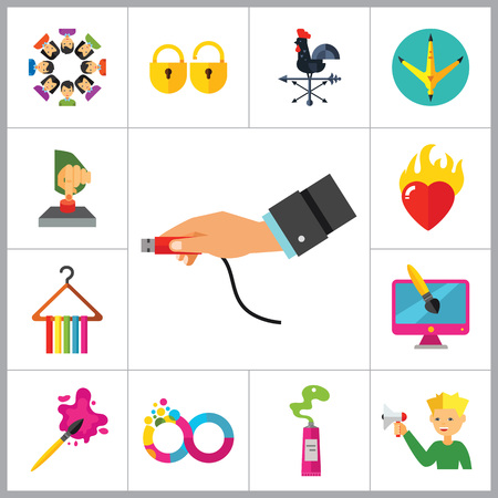 press button: Abstract Concepts Icon Set. Team Press Button Burning Heart Hand With USB Cable Padlocks Weathercock Hen Paw Print Man With Megaphone Infinity Fashion Design Brush Paint Tube