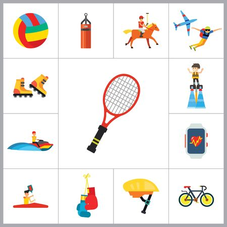 rollerblade: Active Sport Icon Set. Volleyball Tennis Racket Punchbag Horseracing Parachute Jump Flyboard Smartwatch Bicycle Helmet Boxing Gloves Canoeing Rollerblading Jet Skiing