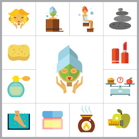 Beauty Icon Set. Woman With Curls Diet Concept Aroma Lamp Face Cream Fish Peeling Products On Scales Lipstick Sponge Stone Therapy Perfume Woman With Mudpack On Face Woman In Bath Woman In Steamroom Illustration