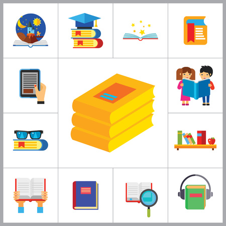audiobook: Book Icon Set. Book And Magnifier Book In Hands Book With Glasses Books On Shelf E-book Open Book Children With Book Tales Book With Bookmark Science Book Audiobook Books Stack Illustration