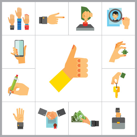 hand writing: Business Hand Icon Set. Thumb Up Press Button Pointing Finger Writing Raising Hands Palm Hand With Key Hand With Phone Hand With Puzzle Briefcase Hand With Banknotes Hand With Magnifier Partnership