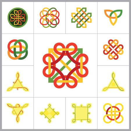 Celtic Ornament Icon Set. Infinite Knot Endless Knot Eternal Knot Buddhist Symbol Decorative Knot Ornament Celtic Knot Celtic Symbol Celtic Element Celtic Sign Triqueta Celtic Shield Quaternary Knot