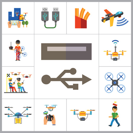 serial: Drones Icon Set. Drone Technology Drone Surveillance Drone Racing Delivery Drone USB Cable Drone Control Drone Camera Military Drone Man With Drone USB Port Illustration