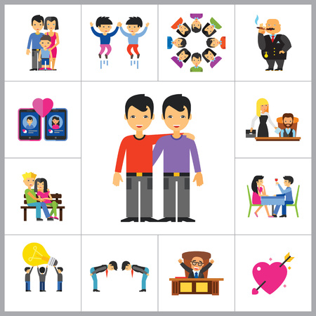 rich people: People Icon Set. Family Showing Respect Amour Symbol Couple On Park Bench Dating Team Dinner Friends Greeting Boss Director Common Idea Rich Person Illustration