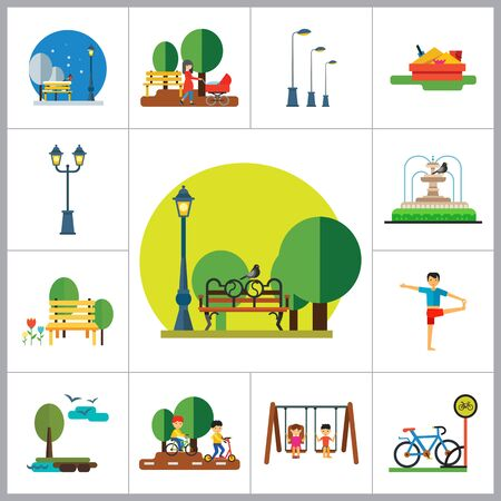 sandbox: Park Icon Set. Winter Park Cycling In Park Sandbox Park Fountain Bicycle Parking Park Lamps Walking In Park Girls On Swing Park Bench Exercising Street Lamp Landscape With Tree And Lake