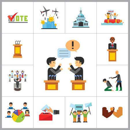 Politics Icon Set. Debates Politician Politics Leadership Vote White House Demonstration Election Electorate Refugees Hostage War Combat Illustration