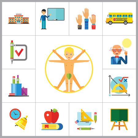 uomo vitruviano: School Icon Set. School Pencil School Bus Pencil Stand Stationery Math Formula Knowledge Vitruvian Man Professor Lesson School Board Teacher Students Vettoriali