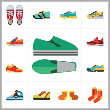 plimsoll: Shoes Icon Set. Sneakers Summer Shoes Sport Shoe Trainer Jogging Shoe Gymshoe Running Shoe Football Shoe Basketball Shoe Socks Valenki Plimsoll