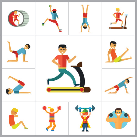 sportsman: Sportsman vector icons set. Thirteen icons of running man, rock climber, bodybuilder and other sportsmen Illustration