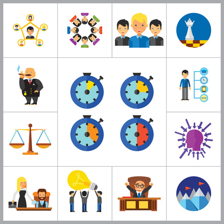common vision: Strategy Icon Set. Team Structure Common Idea Director Executive Manager Rich Person Team Time Management Challenge Boss Scales Strategic Management Vision Team Leader Illustration