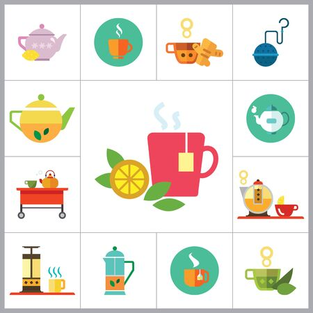 strainer: Tea icons set with teapot, tea cup and tea strainer. Thirteen vector icons