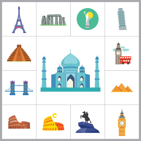 tourist attraction: Tourist attraction icons set. Thirteen vector icons of Eiffel Tower, Big Ben, Pyramids and other tourist attractions Illustration
