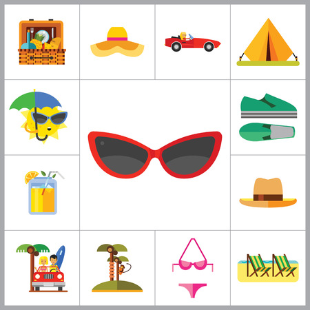 summer drink: Vacation Icon Set. Picnic Basket Summer Shoes Bikini Tent Sun With Umbrella Sunglasses Womans Summer Hat Mans Hat Summer Drink Woman In Cabriolet Coconut Palms With Monkey Beach Couple In Cabriolet