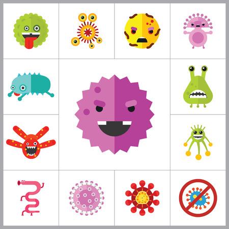 thirteen: Virus cartoon character icons set. Thirteen vector icons Illustration
