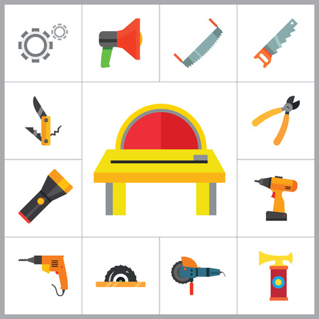 techniques: Techniques icons set with woodsawing machine, electric drill and hand saw. Thirteen vector icons