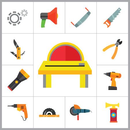 temperino: Tecniche icone set con la macchina woodsawing, trapano elettrico e sega a mano. Tredici icone vettoriali Vettoriali