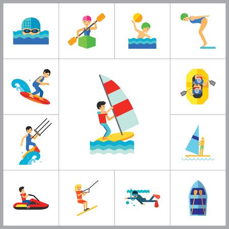 Wassersport Icon Set. Wasserski Wasserspringen Tauchen Wasserball Windsurfen Schwimmen Surfen Kajak-Segelschiff Jet Ski Kite Surfing River Adventure Boot mit Rudern Vektorgrafik
