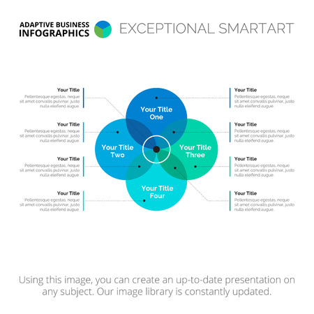 Four sides Venn diagram. Element of presentation, brochure, diagram. Concept for infographics, business templates, reports. Can be used for topics like analytics, strategy, management Illustration