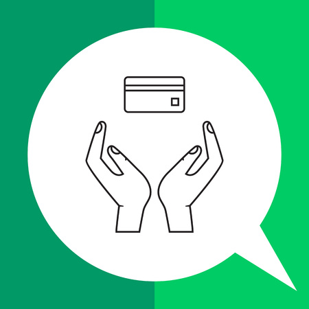 Icon of human hands holding credit card