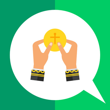 Icon of priest hands taking holy bread, flat yellow piece of bread with Christian cross on it Illustration