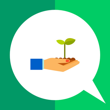 Multicolored vector icon of hands holding plant sprout growing in soil