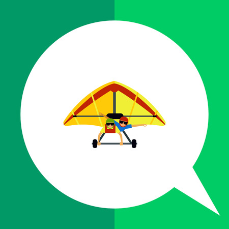 flight helmet: Multicolored flat icon of hang glider with two male gliders