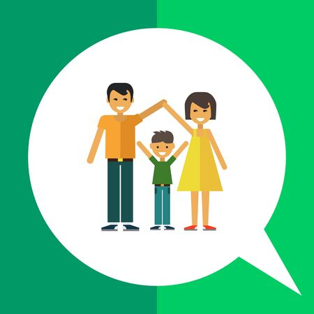 one child: Multicolored vector icon of happy family consisting of man, woman and one child