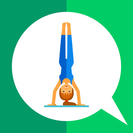 handstand: Multicolored vector icon of woman doing yoga in handstand pose, side view Illustration