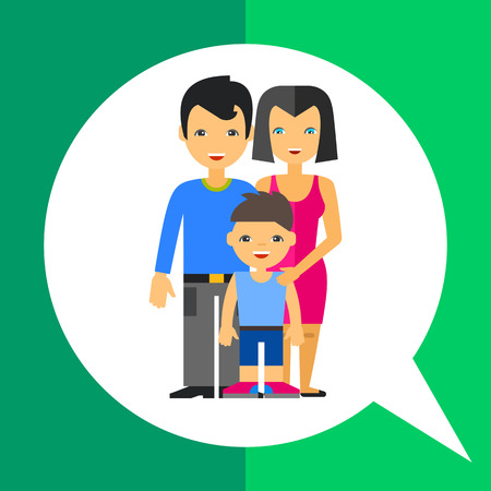 Multicolored vector icon of family of husband, wife and their son in front of them Illustration