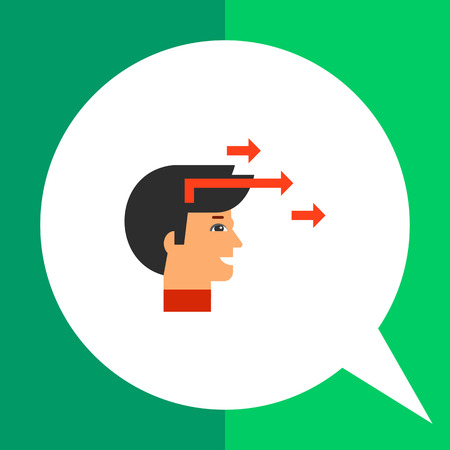 encouragement: Head profile of smiling man with three arrows directed forward. Inspiration, goal, encouragement. Motivation concept. Can be used for topics like business, management, consulting, marketing. Illustration