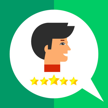 professionalism: Head profile of smiling man and five stars below. Leadership, success, professionalism. Star employee concept. Can be used for topics like business, management, consulting, recruitment.