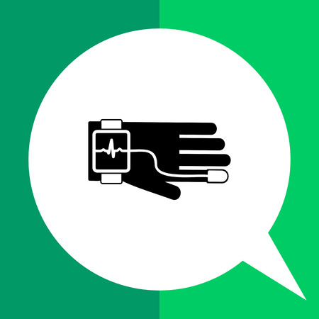 condition: Health tracking vector icon. Black and white illustration of hand with special device tracking human health condition Illustration