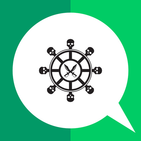 Helm of pirate ship simple icon. Black illustration of steering wheel with skull elements and crossed pirate daggers