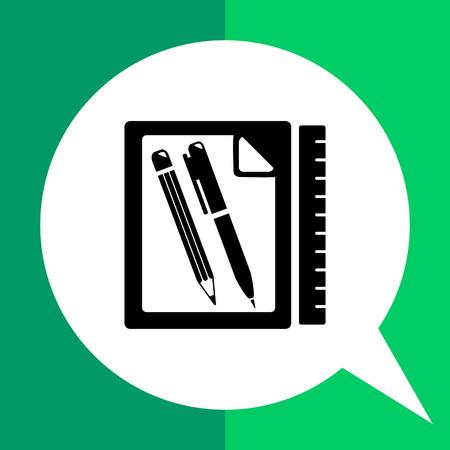representing: Monochrome vector icon of paper, pencil, pen, and ruler representing homework Illustration