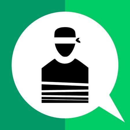 immobile: Hostage flat icon. Vector minimalistic illustration of tied person with blindfold