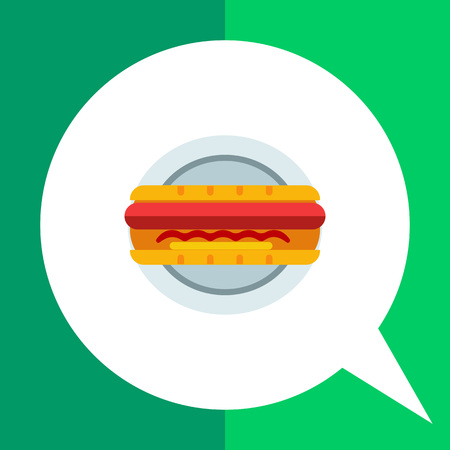 Vector icon of hot dog on plate Illustration