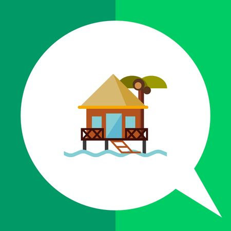 Hotel on water icon. Multicolored vector illustration of bungalow Illustration