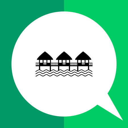 Monochrome vector icon of hotel on water, three overwater bungalows