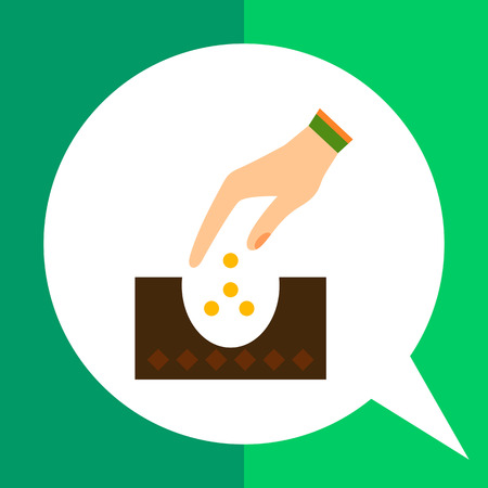 Vector icon of human hand planting seeds into ground Illustration