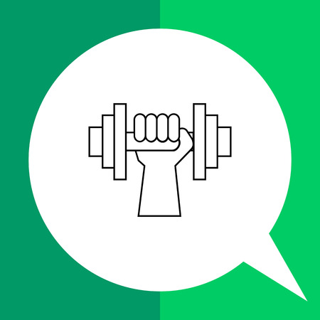 hand with dumbbell: Human hand with dumbbell line icon. Vector illustration of hand holding dumbbell