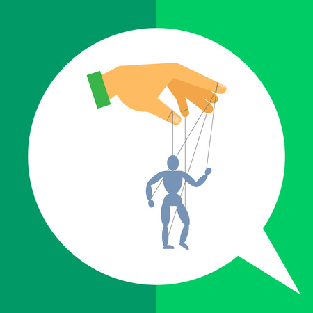 marionette: Vector icon of human hand with marionette puppet Illustration