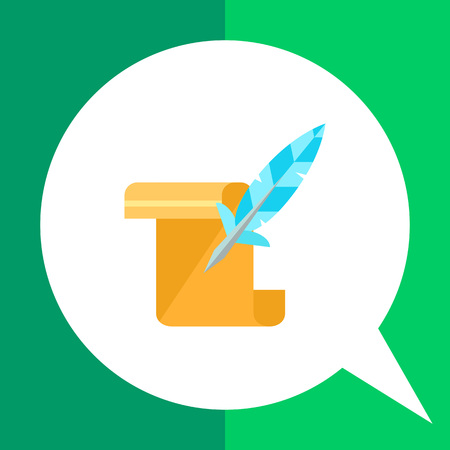 Multicolored vector icon of paper scroll and quill representing history