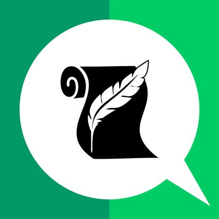cronologia: Monocromático del vector del icono del rollo de papel y la historia que representa la pluma Vectores