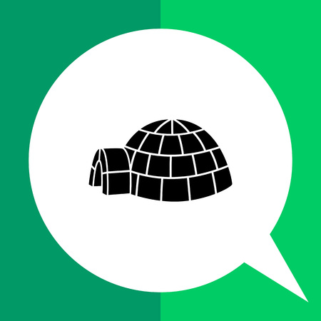 snow house: Vector icon of igloo, spherical Eskimo snow house