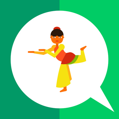 Multicolored vector icon of dancing female character wearing traditional Indian costume