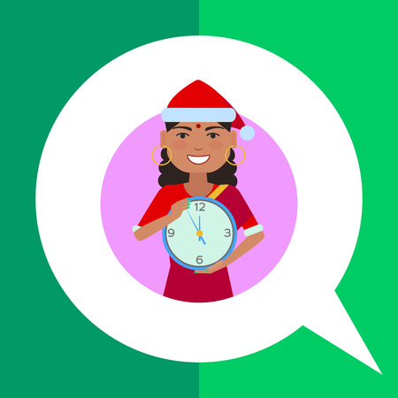 lady clock: Female character, portrait of Indian woman wearing Santa costume and holding clock Illustration