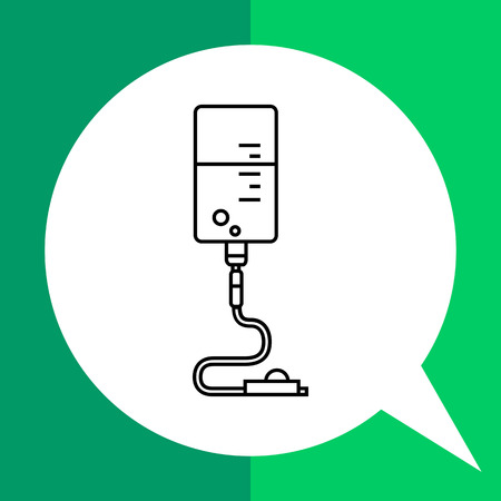 Infusion drip icon. Line illustration of intravenous infusion set with drip chamber, tube and roller clamp Illustration