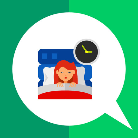 Insomnia icon. Multicolored vector illustration of female character suffering from insomnia Illustration