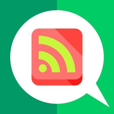 syndication: Multicolored vector icon of green internet feed sign in coral square